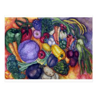 Postal Arte vegetal de la acuarela de las verduras