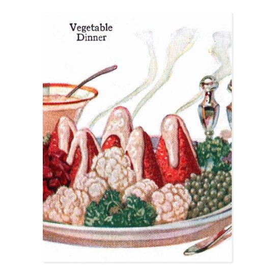 Postal Arte vegetal retro de la cena de la comida 50s del