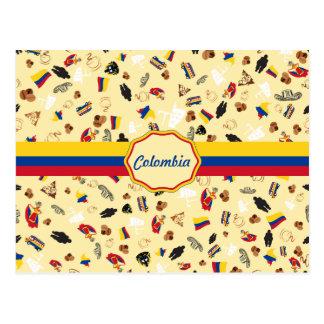Postal Artículos famosos de Colombia con la bandera