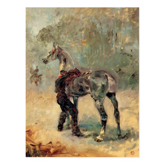 Postal Artillero y su caballo por Toulouse-Lautrec