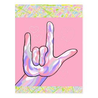 Postal ASL te amo en ROSA