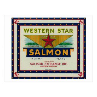 Postal Astoria, Oregon - etiqueta occidental del caso de