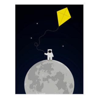 Postal Astronauta con una cometa
