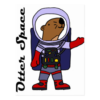 Postal Astronauta divertido de la nutria de mar en dibujo