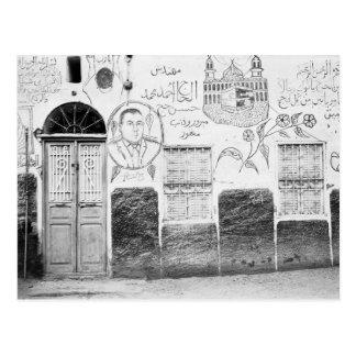 Postal Asuán Egipto, casa adornada
