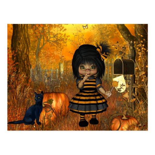 Postal asustadiza de Halloween con la niña