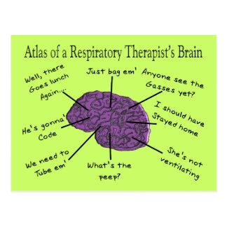 Postal Atlas de un cerebro del terapeuta respiratorio