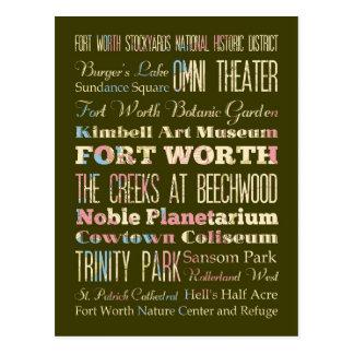 Postal Atracciones y lugares famosos de Fort Worth, Tejas