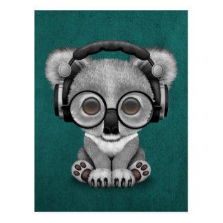 Postal Auriculares que llevan lindos de DJ del oso de