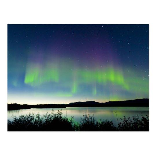 Postal Aurora boreal de la noche de verano sobre el lago