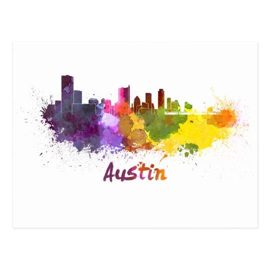 Postal Austin skyline in watercolor