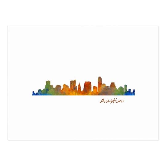 Postal Austin Texas watercolor skyline v1