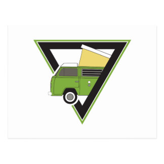 Postal autocaravana verde clásica del triángulo