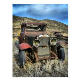 Postal Automóvil viejo del contador de tiempo