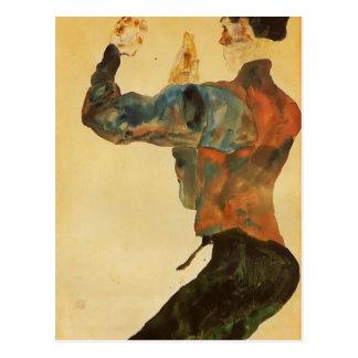Postal Autorretrato de Egon Schiele- con los brazos