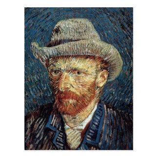 Postal Autorretrato de Van Gogh con el sombrero de