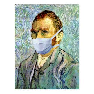 Postal Autorretrato de Vincent van Gogh con parodia de la