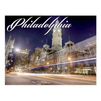 """Postal """"ayuntamiento de Philadelphia en la noche """""""