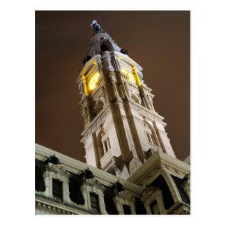 Postal Ayuntamiento Philadelphia en la noche