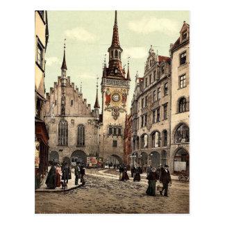 Postal Ayuntamiento viejo, Munich, Baviera, Alemania
