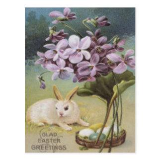 Postal Azafrán pintada coloreada del huevo del conejito