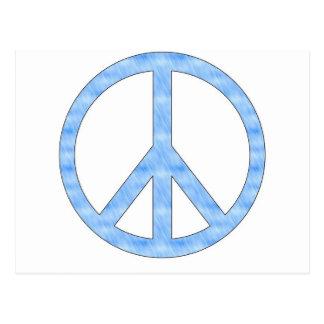 Postal azul adaptable del signo de la paz