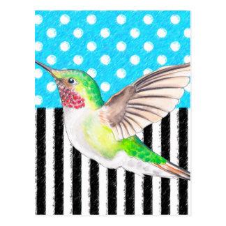 Postal Azul artsy del colibrí