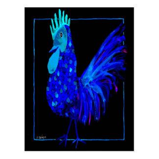 Postal azul de Charlie 4 del primo del gallo del
