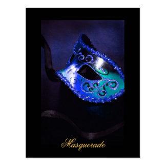 Postal azul de la bella arte de la máscara de la