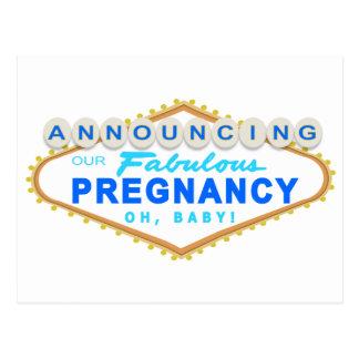 Postal azul de la invitación del embarazo de Las V