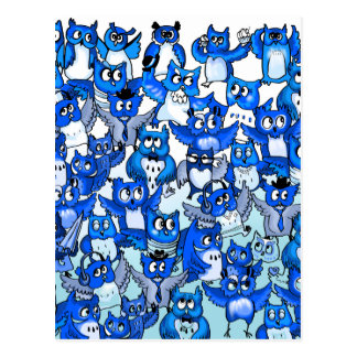 Postal Azul de la muchedumbre de los búhos