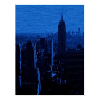 Postal azul de la noche de New York City