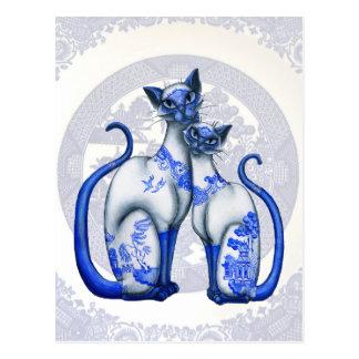 Postal azul de los gatos siameses del sauce