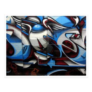 Postal azul del arte de la calle