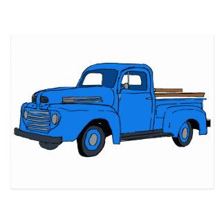Postal azul del camión del vintage