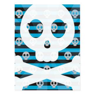 Postal azul del cráneo del pirata