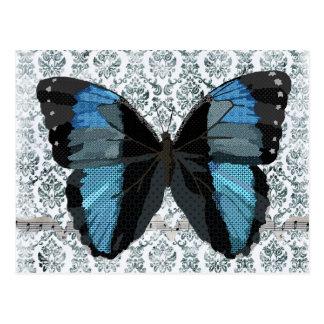 Postal azul del damasco de la mariposa de Boho