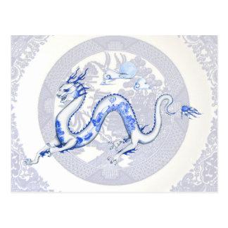 Postal azul del dragón del sauce
