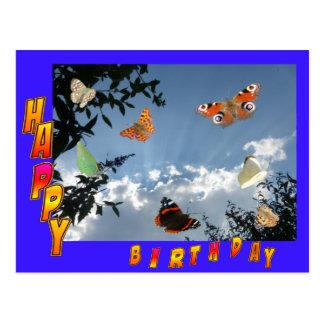Postal azul del feliz cumpleaños de las mariposas
