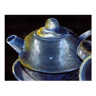Postal azul del juego de té (Lorri Corbett)