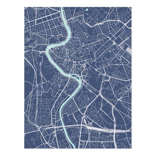 Postal Azul del mapa de Roma
