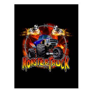 Postal Azul del monster truck en el fuego