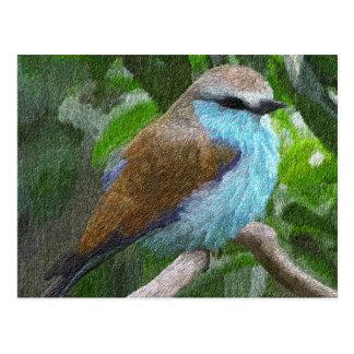 Postal azul del pájaro