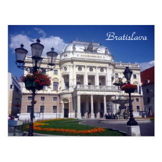 Postal azul del teatro de Bratislava
