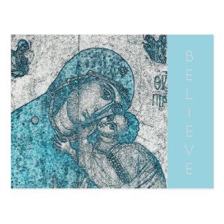 Postal Azul del vintage del Jesucristo del Virgen María y