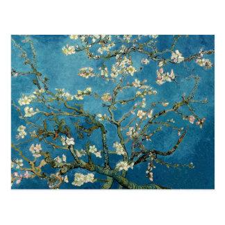 Postal Azul floral del vintage de los flores de la