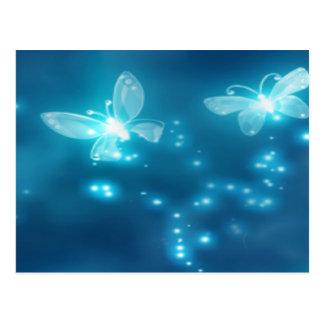 Postal Azul intenso, brillo y mariposas