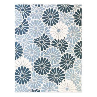 Postal Azul japonés y blanco del crisantemo del vintage
