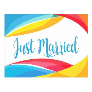 Postal Azul retro apenas casado casando el arco iris