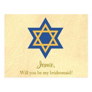 Postal Azul y oro judíos usted será mi dama de honor